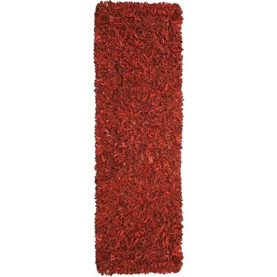 Baum Leather Red Area Rug Rug Size: Runner 26 x 8