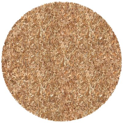 Baum Leather Tan Area Rug Rug Size: Round 8