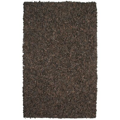 Pelle Leather Dark Brown Area Rug Rug Size: 5 x 8