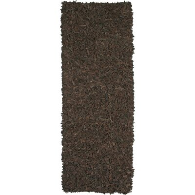 Baum Leather Dark Brown Area Rug Rug Size: Runner 26 x 12