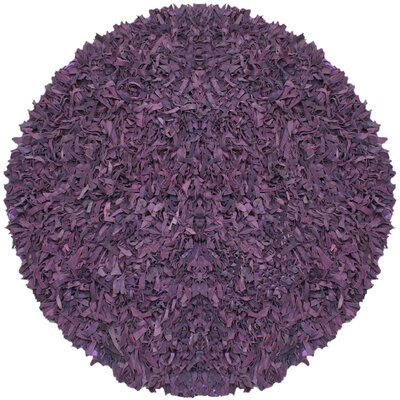 Pelle Leather Purple Area Rug Rug Size: Round 6