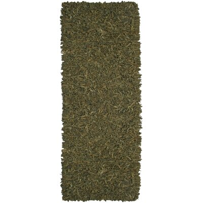Baum Leather Green Area Rug Rug Size: Runner 26 x 12