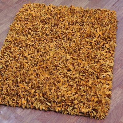 Baum Leather Gold Area Rug Rug Size: Rectangle 5 x 8