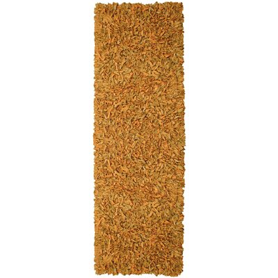 Pelle Leather Gold Area Rug Rug Size: Runner 26 x 12