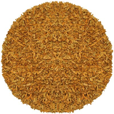 Pelle Leather Gold Area Rug Rug Size: Round 6