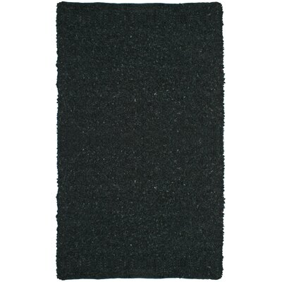 Baum Short Leather Black Area Rug Rug Size: 5 x 8