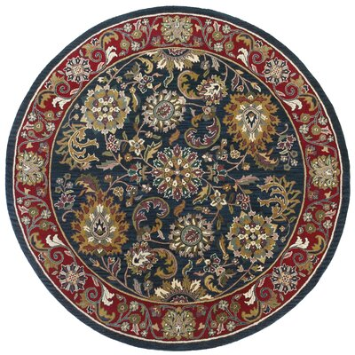 Traditions Kashan Navy Rug Rug Size: Round 6'