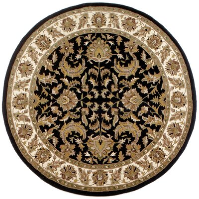 Traditions Isphan Black Rug Rug Size: Round 8