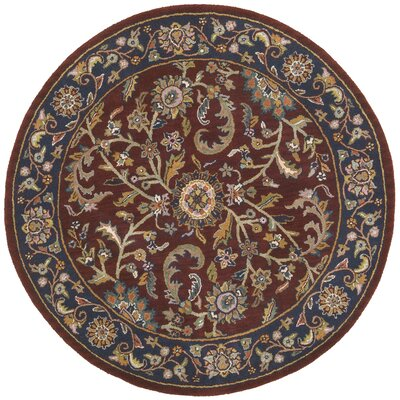 Traditions Kashan Red/Blue Rug Rug Size: Round 6