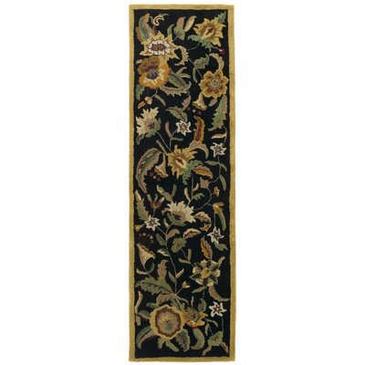 Traditions Paradise Black Rug Rug Size: Runner 26 x 12