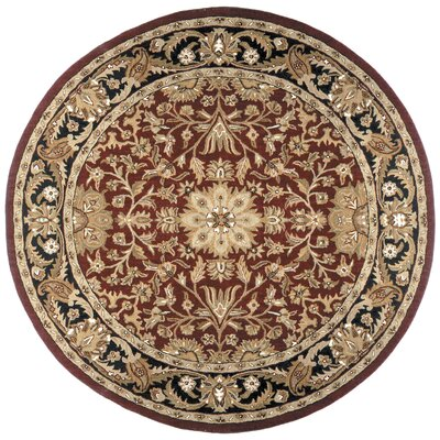 Traditions Regal Burgundy Rug Rug Size: Round 6