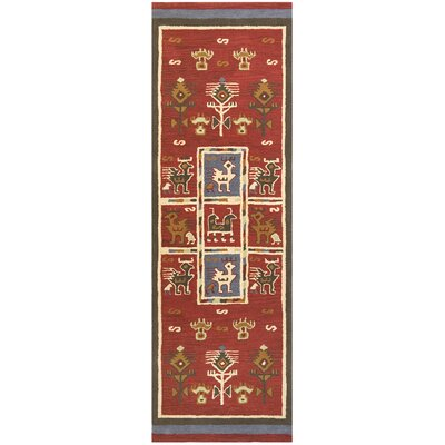 Traditions Tribal Burgundy Rug Rug Size: Runner 26 x 12