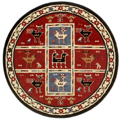 Traditions Tribal Burgundy Rug Rug Size: Round 6'