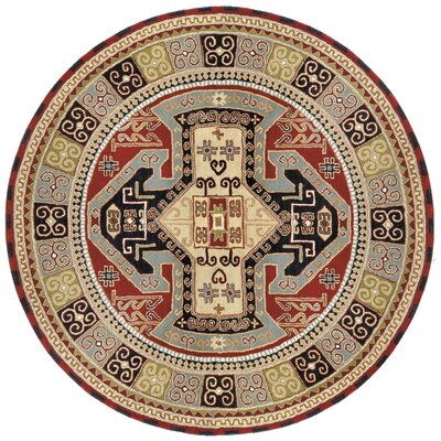 Traditions Sparta Navy/Red Rug Rug Size: Round 8'