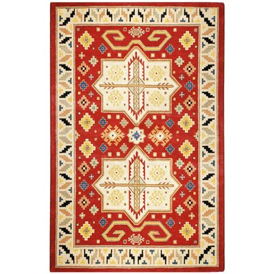 Traditions Virtu Red Rug Rug Size: Rectangle 8 x 11
