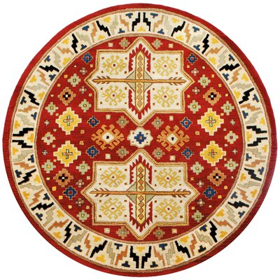 Traditions Virtu Red Rug Rug Size: Round 6