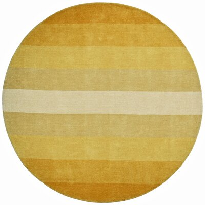 Degarmo Yellow Stripes Area Rug Rug Size: Round 8