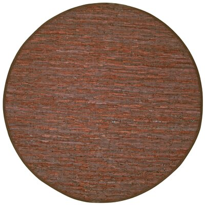 Sandford Leather Chindi Rust Area Rug Rug Size: Round 6