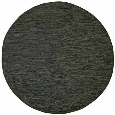 Sandford Leather Chindi Green Area Rug Rug Size: Round 6