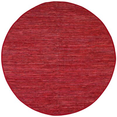 Matador Red Leather Chindi Rug Rug Size: Round 6