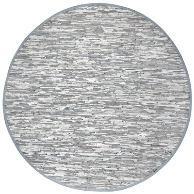 Matador White Leather Chindi Rug Rug Size: Round 8