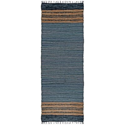 Matador Leather Chindi Gray Area Rug Rug Size: Runner 25 x 12