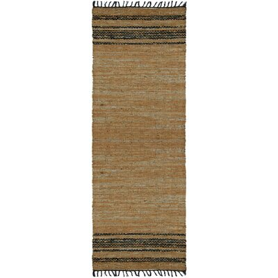 Matador Tan Leather Chindi Rug Rug Size: Runner 25 x 12