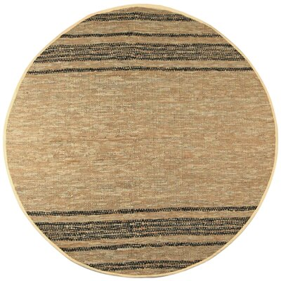 Matador Tan Leather Chindi Rug Rug Size: Round 6
