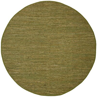 Sandford Leather Chindi Green Area Rug Rug Size: Round 8