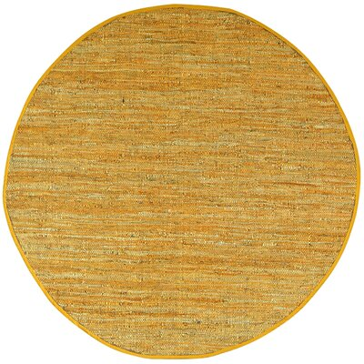 Sandford Leather Chindi Gold Area Rug Rug Size: Round 6