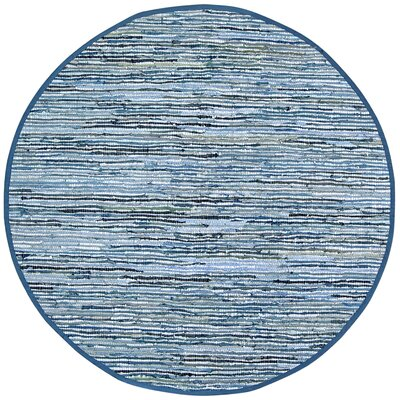 Sandford Dhurry Hand Woven Cotton Blue Area Rug Rug Size: Round 6