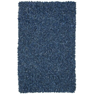Pelle Leather Shag Blue Area Rug Rug Size: 8 x 10