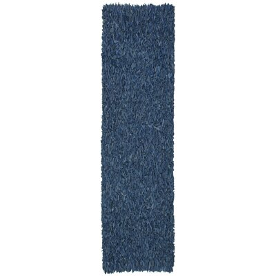 Baum Leather Shag Blue Area Rug Rug Size: Runner 26 x 8