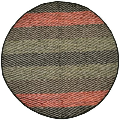 Matador Striped Leather Chindi Black Area Rug Rug Size: Round 6