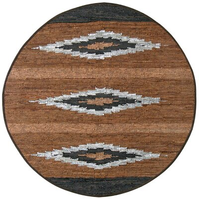 Matador Diamonds Leather Chindi Brown Area Rug Rug Size: Round 6