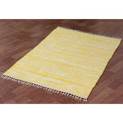 Complex Hand Woven Yellow/White Area Rug Rug Size: 5 x 8