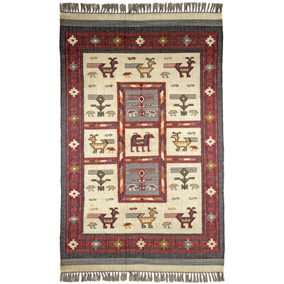 Hacienda Off-White / RedTribal Area Rug Rug Size: 4 x 6