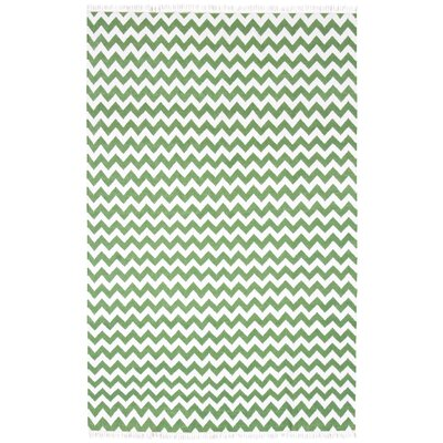 Hacienda Green/White Chevron Area Rug Rug Size: 4 x 6