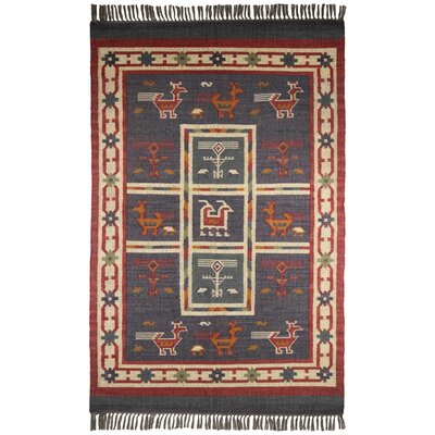 Hacienda Tribal Dark Blue Area Rug Rug Size: 5 x 8