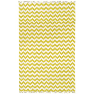 Hacienda Yellow/Ivory Chevron Area Rug Rug Size: 4 x 6