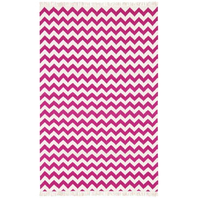 Hacienda Purple/White Chevron Area Rug Rug Size: 4 x 6