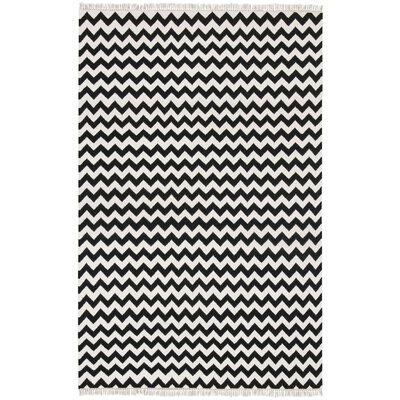 Hacienda Black/Ivory Chevron Area Rug Rug Size: 9 x 12