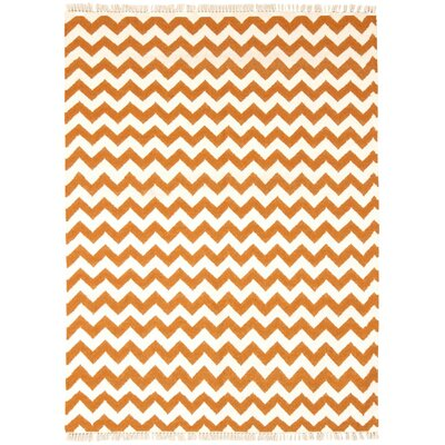 Hacienda Orange/White Chevron Area Rug Rug Size: 4 x 6
