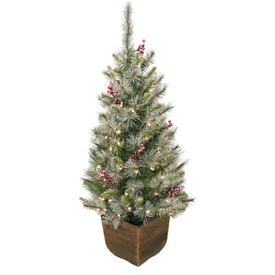 "Alpine Entryway 48"" Green Artificial Christmas Tree with 70 Clear Lights with Pot"