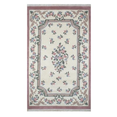 French Country 2001 Aubusson Ivory / Rose Floral Rug Size: Round 7'6