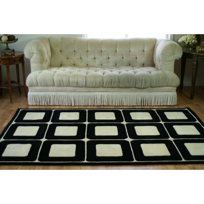 Casual Contemporary Blocks HandTufted Wool Ivory/Black Area Rug Rug Size: 36 x 56