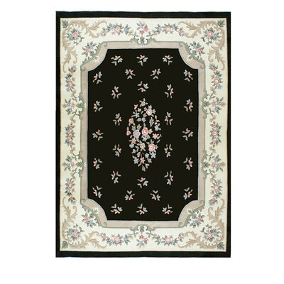 Floral Garden Black Area Rug Rug Size: Rectangle 76 x 96