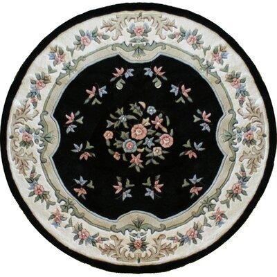 Floral Garden Black Area Rug Rug Size: Round 76 x 76