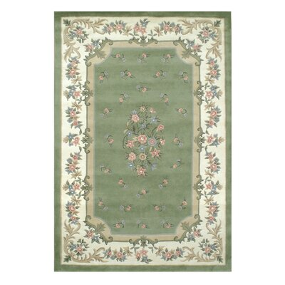 Floral Garden Aubusson Sage/Ivory Area Rug Rug Size: Rectangle 12 x 15
