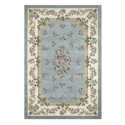 Floral Garden Light Blue Area Rug Rug Size: Oval 2 x 3